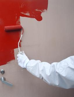 鉄部扉塗装施工中